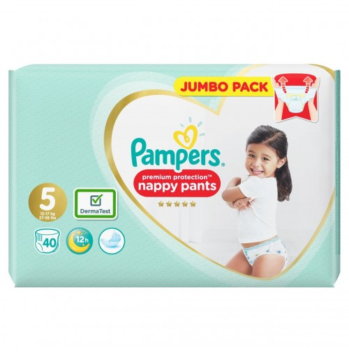 PAMPERS PREMIUM PROTECTION NAPPY PANTS 5 DYDIS ( 12 - 17 kg ) 80 vnt.