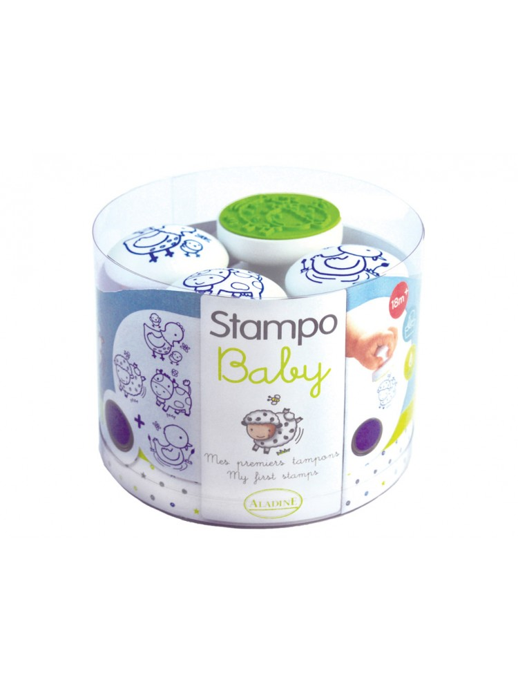 Antspaudų rinkinys Aladine Stampo Baby 4vnt. Farm + pagalvėlė antspaudams mėlyna