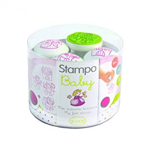 Antspaudų rinkinys Aladine Stampo Baby 4vnt. Princess + pagalvėlė antspaudams rausva
