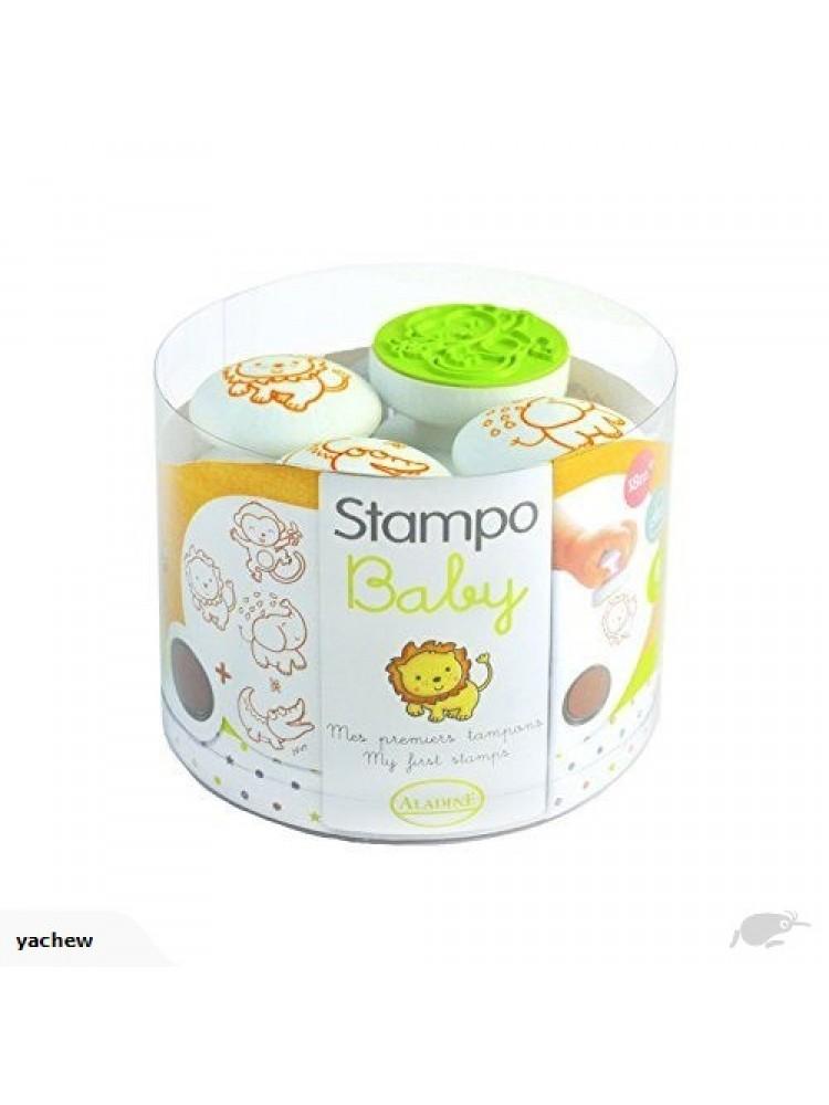 Antspaudų rinkinys Aladine Stampo Baby 4vnt. Jungle + pagalvėlė antspaudams ruda