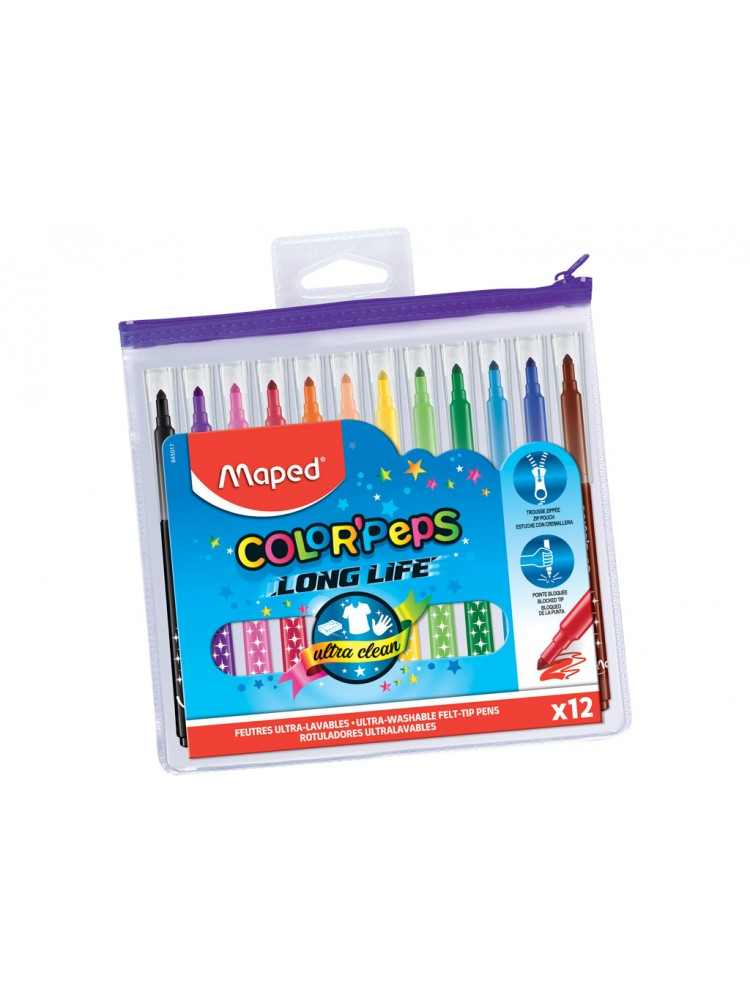 Flomasteris ColorPeps Long Life 12vnt. zipper