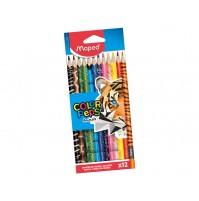 Spalvotas pieštukas ColorPeps Animals 12vnt.