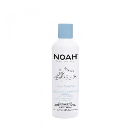Dušo gelis ir šampūnas viename su pienu ir cukrumi vaikams, 250ml, NOAH