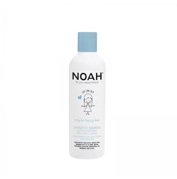 Vaikiškas šampūnas su pienu ir cukrumi ilgiems plaukams, 250ml, NOAH