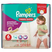 PAMPERS PREMIUM PROTECTION ACTIVE FIT NAPPY PANTS 6 DYDIS ( 15+kg ) 56 vnt.