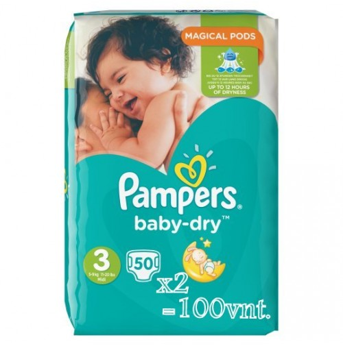 Pampers Baby – Dry sauskelnės 3 dydis ( 5 – 9 kg ) 100 vnt.