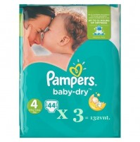 Pampers Baby – Dry sauskelnės 4 dydis ( 7 – 18 kg ) 132 vnt.