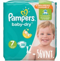 Pampers Baby – Dry sauskelnės 7 dydis ( 15+ kg ) 56 vnt.