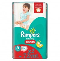 Pampers baby dry PANTS  sauskelnės – kelnaitės 5 dydis ( 12 – 18 kg ) 72 vnt.