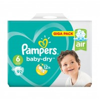 PAMPERS BABY – DRY SAUSKELNĖS 6 DYDIS ( 13 - 18 KG ) 92 VNT.