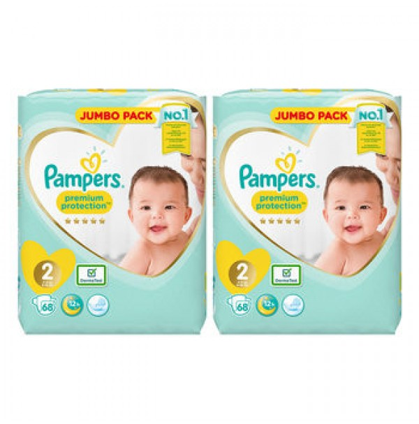 Pampers Premium Protection 2nr. ( 4 – 8 kg ) 136vnt.