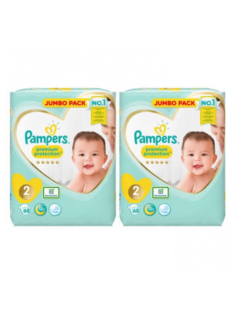 Pampers Premium Protection 2nr. ( 4 – 8 kg ) 136vnt.
