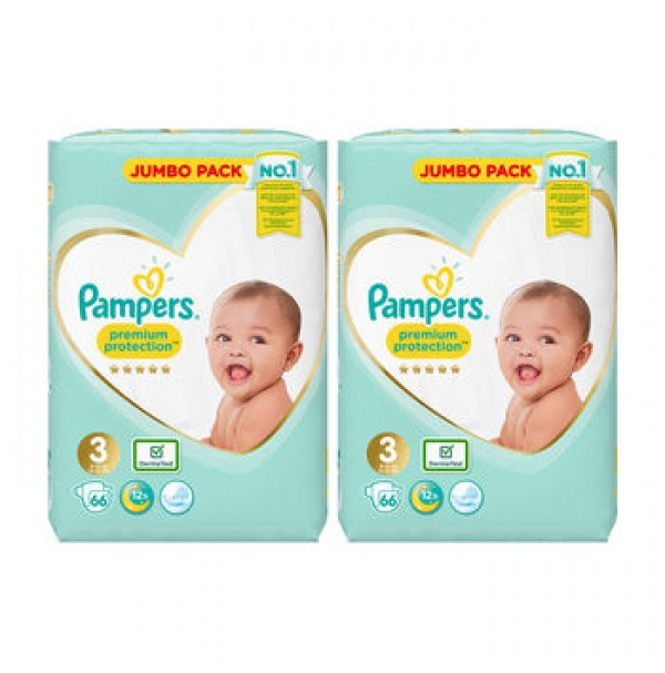 Pampers Premium Protection  3 dydis ( 6 – 10 kg ) 132 vnt.