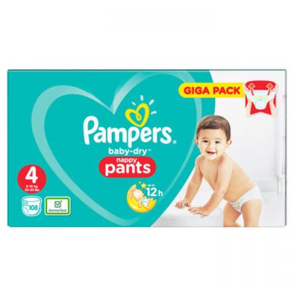 PAMPERS BABY DRY PANTS SAUSKELNĖS – KELNAITĖS 4 dydis ( 9 - 15 kg ) 108 vnt.