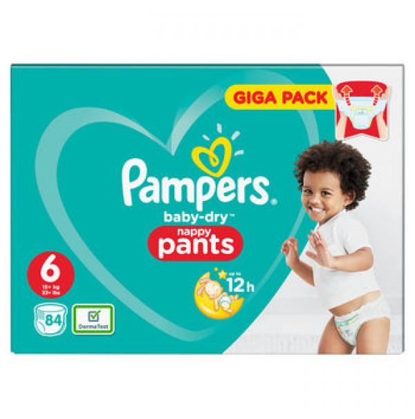 PAMPERS BABY DRY PANTS SAUSKELNĖS – KELNAITĖS 6 dydis ( 15+ kg ) 84 vnt.