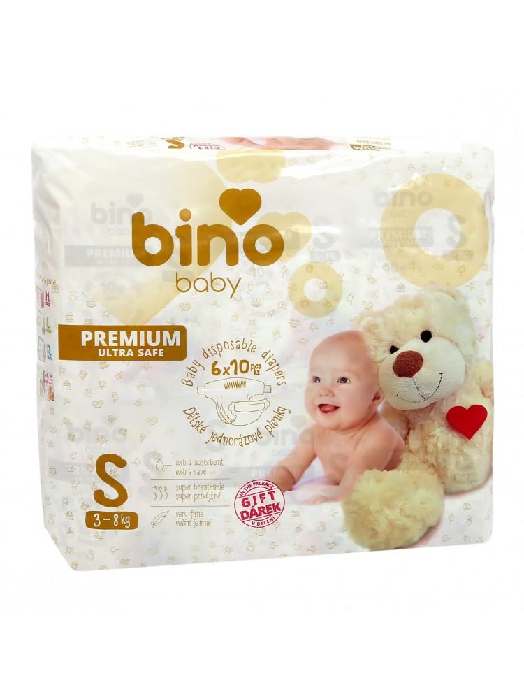 Sauskelnės BINO BABY PREMIUM S ( 3 - 8kg ) - 60vnt + paklotėlis DOVANŲ