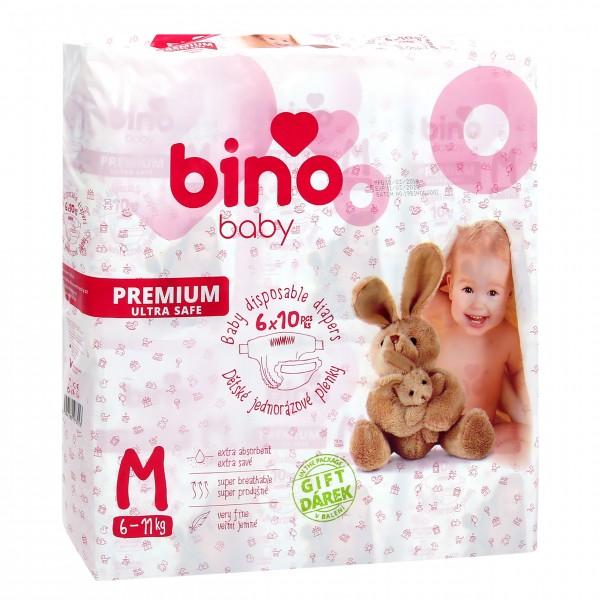 Sauskelnės BINO BABY PREMIUM M ( 6 - 11 kg ) 60vnt. + paklotėlis DOVANŲ