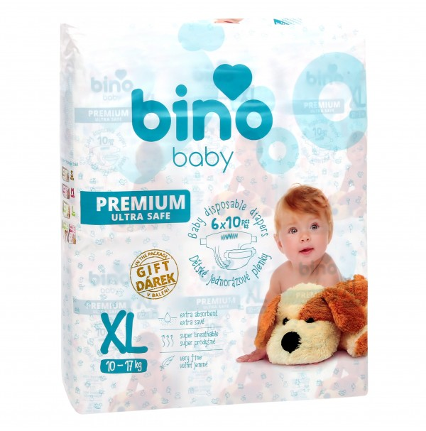 Sauskelnės BINO BABY PREMIUM XL ( 10 - 17 kg ) 60vnt. + paklotėlis DOVANŲ
