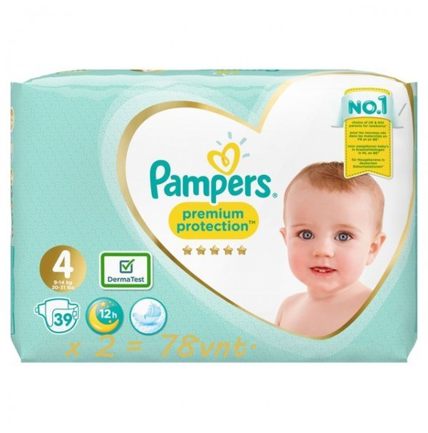 Pampers Premium Protection 4 dydis ( 9 – 14 kg ) 82 vnt.