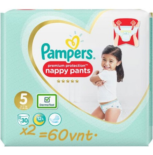 PAMPERS PREMIUM PROTECTION NAPPY PANTS 5 DYDIS ( 11 - 18 kg ) 60 vnt.