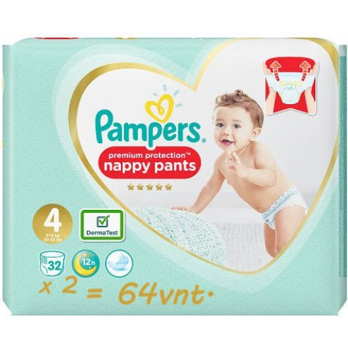 Pampers Premium Protection Nappy Pants 4 dydis ( 8 - 14 kg ) 64 vnt.