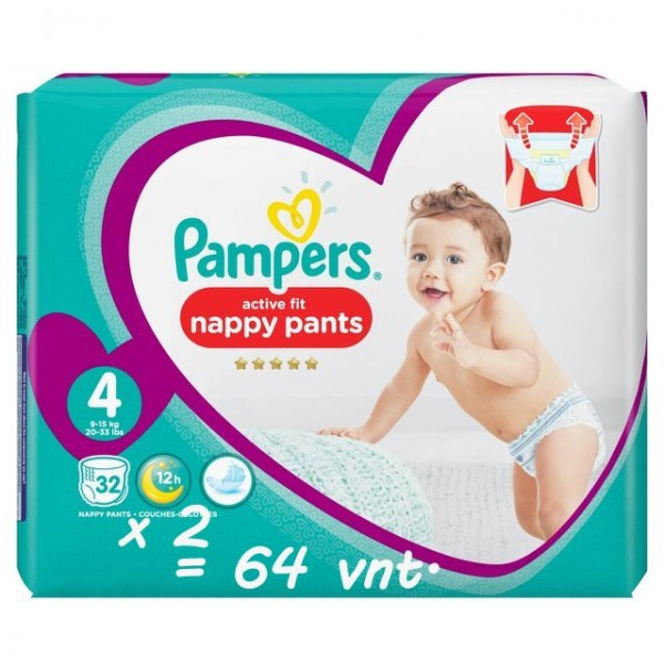 Pampers Premium Protection Active Fit Nappy Pants 4 dydis ( 8 - 14 kg ) 64 vnt.