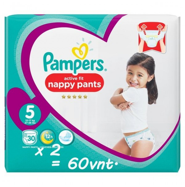 PAMPERS PREMIUM PROTECTION ACTIVE FIT NAPPY PANTS 5 DYDIS ( 11 - 18 kg ) 60 vnt.