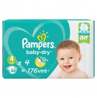 Pampers Baby – Dry sauskelnės 4 dydis ( 7 – 18 kg ) 176 vnt.