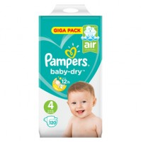 PAMPERS BABY – DRY SAUSKELNĖS 4 DYDIS ( 7 – 18 KG ) 120 VNT.