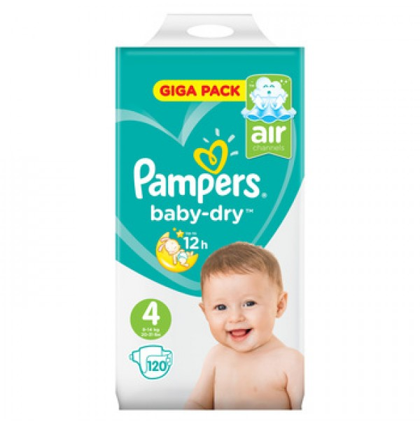PAMPERS BABY – DRY SAUSKELNĖS 4 DYDIS ( 9 – 14 KG ) 120 VNT.
