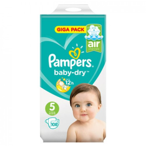 PAMPERS BABY – DRY SAUSKELNĖS 5 DYDIS ( 11 – 16 KG ) 108 VNT.