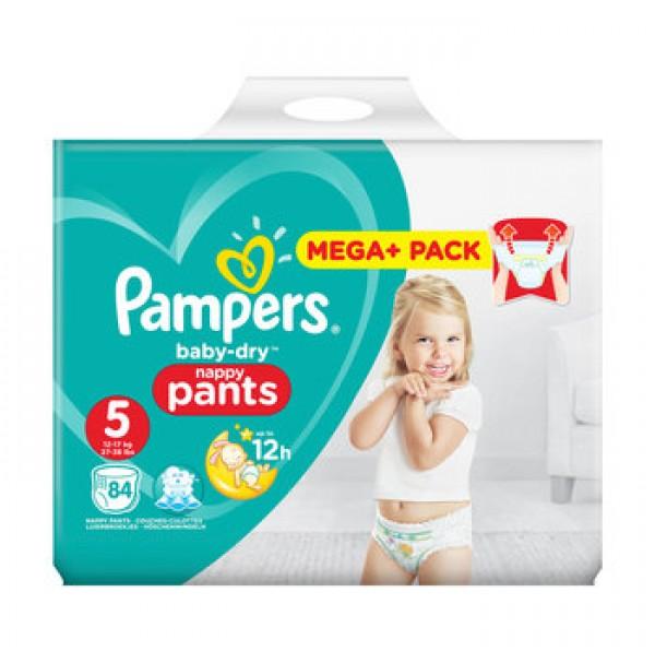 PAMPERS BABY DRY PANTS SAUSKELNĖS – KELNAITĖS 5 dydis ( 12 – 18 kg ) 84 vnt.
