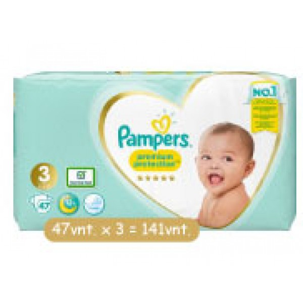 Pampers Premium Protection 3nr. ( 6 – 10 kg ) 141vnt.