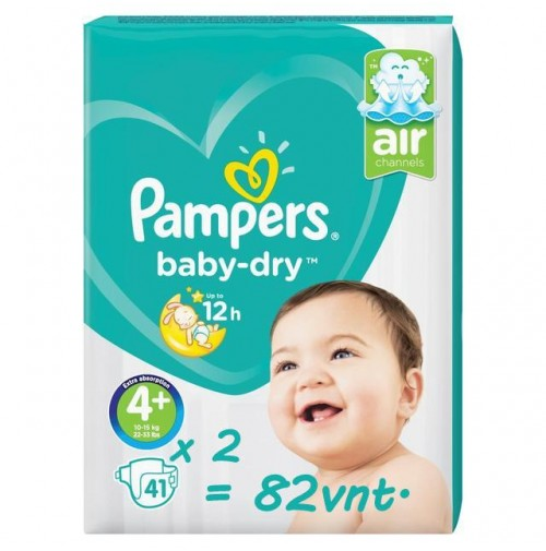 Pampers Baby – Dry sauskelnės 4+ dydis ( 10 – 15 kg ) 82 vnt.