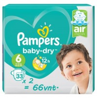 Pampers Baby – Dry sauskelnės 6 dydis ( 15+ kg ) 66 vnt.