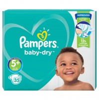 Pampers Baby – Dry sauskelnės 5+ dydis ( 12 – 17 kg ) 70 vnt.