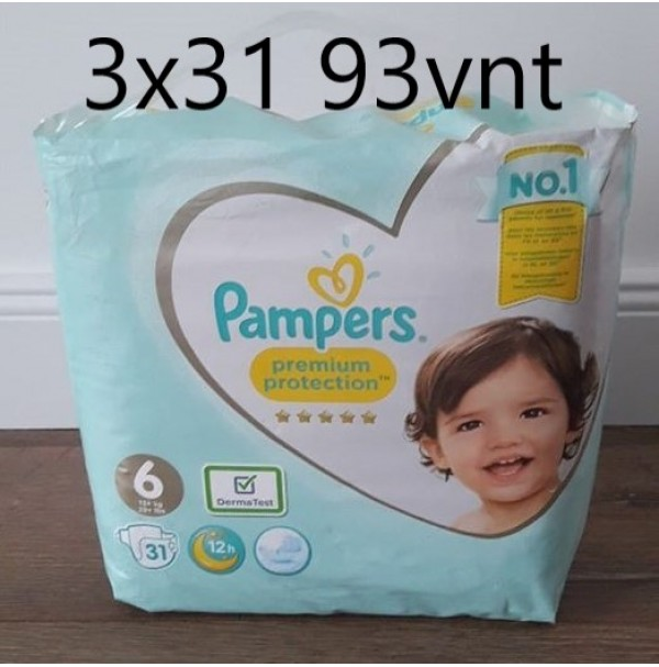 PAMPERS PREMIUM PROTECTION 6 DYDIS ( 13+ ) (3x31) 93 VNT.