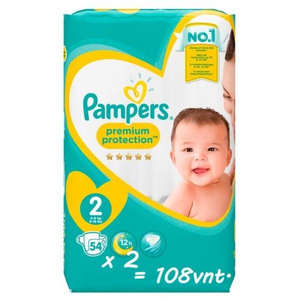 Pampers Premium Protection 2nr. ( 3 – 6 kg ) 108vnt.