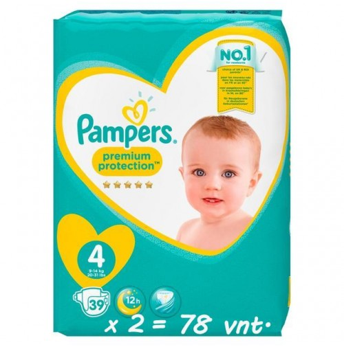 Pampers Premium Protection 4 dydis ( 8 – 16 kg ) 78 vnt.