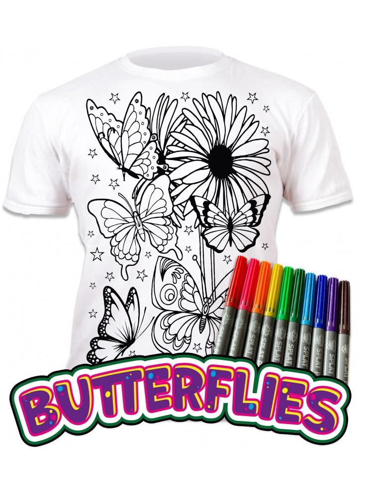 Splat Planet marškinėliai su flomasteriais - Drugeliai