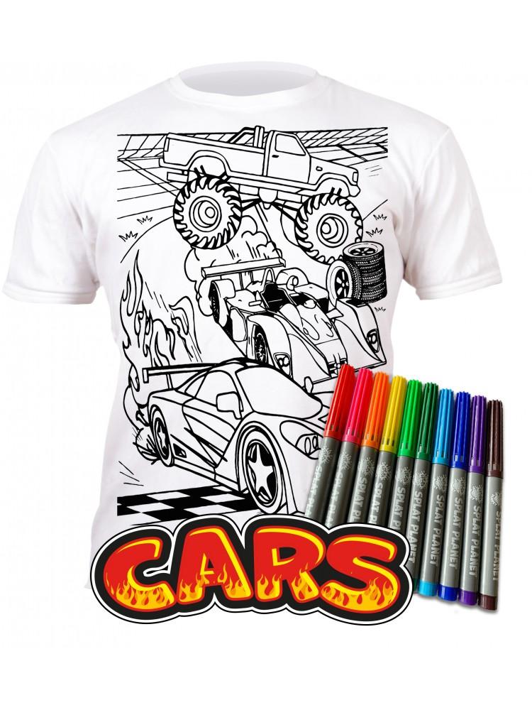 Splat Planet marškinėliai su flomasteriais - Mašinos