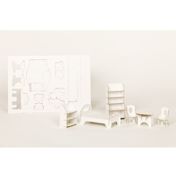Kartoniniai lėlių namo baldai