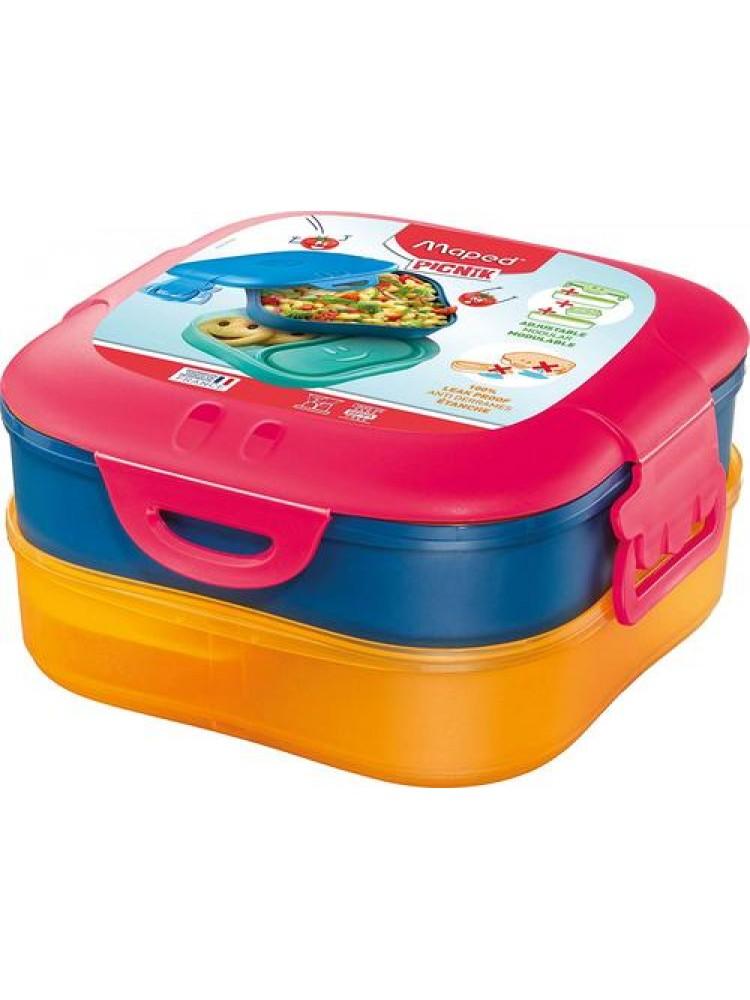 Priešpiečių dėžutė Maped Picnik 3 dalių - red/blue