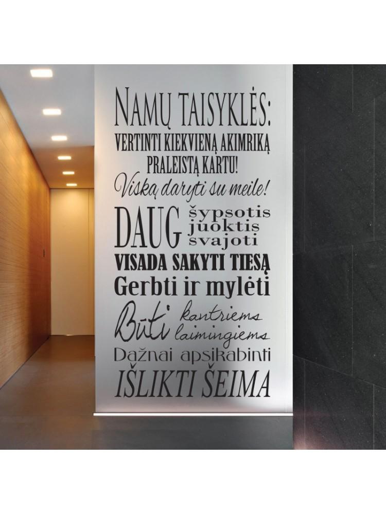 """Sienų lipdukas """"NAMŲ TAISYKLĖS"""""""