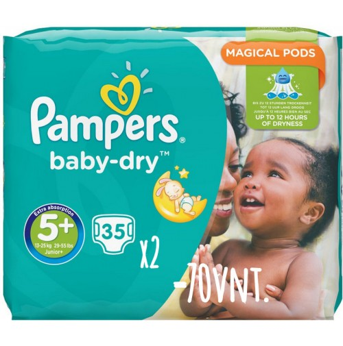 Pampers Baby – Dry sauskelnės 5+ dydis ( 13 – 27 kg ) 70 vnt.