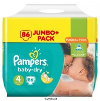 Pampers Baby – Dry sauskelnės 4 dydis ( 7 – 18 kg ) 86 vnt.