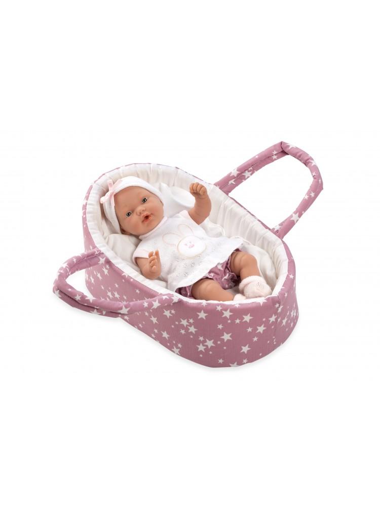 Arias lėlytė - kūdikėlis su rausva nešykle 26cm